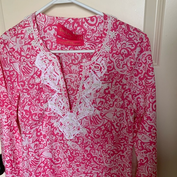 Lilly Pulitzer Pink Beaded Swim Cover-Up